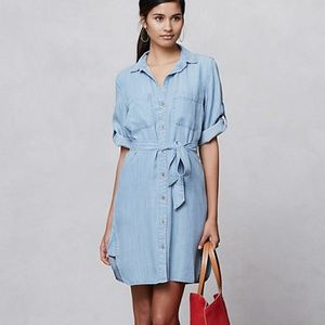 Anthro Cloth & Stone Belted Chambray Shirt Dress